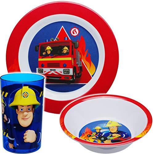 alles-meine.de GmbH 3 TLG. Geschirrset -  Feuerwehrmann Sam  - Geschirr aus Melamin - Trinkbecher + Teller + Müslischale / Suppenschale - Frühstücksset & Kindergeschirr - Junge..
