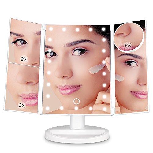 Litake specchio trucco luminoso schermo tattile led specchio per trucco tre pannelli 22pcs luce led specchio trucco cosmetici con cavo usb, ingrandimento 1x, 2x/4x/10x