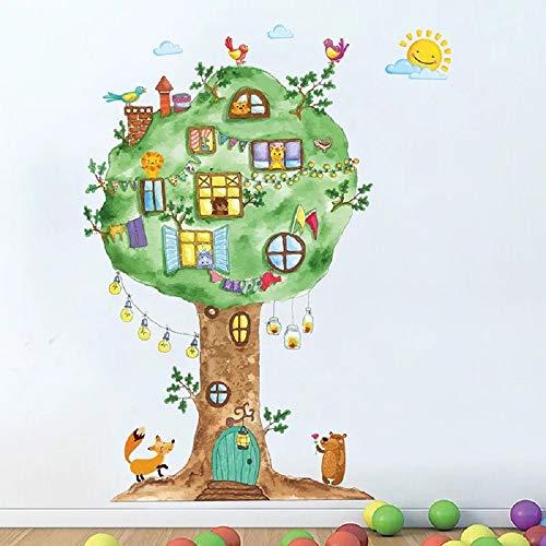 WandSticker4U®- Wandtattoo Kinderzimmer WALDBEWOHNER | Aquarell Wandbilder: 120x65 cm | Wandsticker gross Baum Grün Fuchs Bär Blüte Vögel Blumen Wald Tiere | Deko für Babyzimmer Kinder Baby - Wandtattoo Bäume Rehe