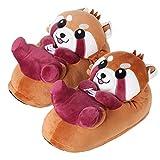 "corimori 1847 - Roter Panda ""Ponva"" Süße Plüsch Hausschuhe Pantoffeln Slipper, Kinder Schuhe, Einheitsgr. 28-34, Rot Braun"