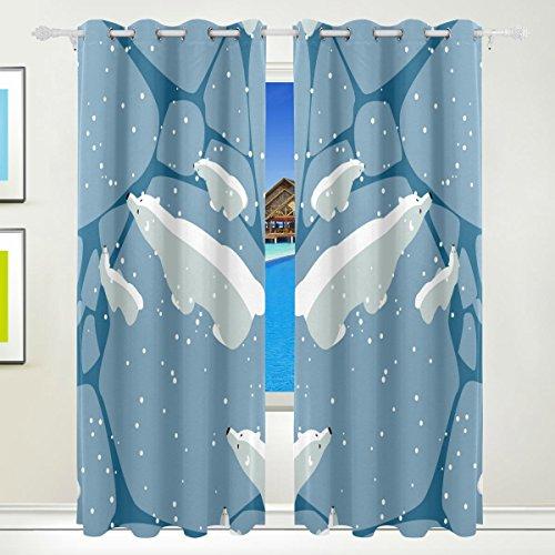 TIZORAX Polar Weiß Bears Vorhänge Verdunkeln isoliert Blackout Fenster Panel Drapes für Wohnzimmer Schlafzimmer 213,4x 139,7cm, Set von 2Panels