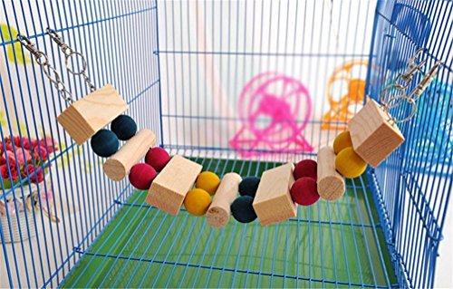 emours Pets klein Animal Rainbow Bridge Wippe Spielplatz Hängematten Versteck aus Holz für Hamster, 33cm