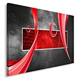 Feeby, Wandbild - 1 Teilig - 60x80 cm, Leinwand Bild Leinwandbilder Bilder Wandbilder Kunstdruck, ABSTRAKTION, KOMPOSITION, ROT, GRAU