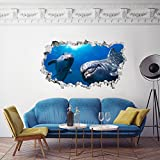 3DA0017 Adesivo murale Arredo Casa Wall Art - Acquario delfini 3D - Misure 110x65 cm - Decorazione parete, adesivi per muro, carta da parati