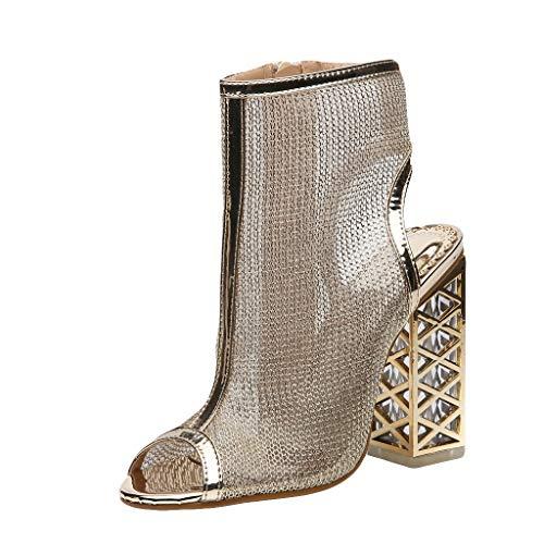 Damen Sandalen mit hohem Absatz, Peep-Toe-Reißverschluss-Seitensandalen, atmungsaktives Mesh-Block mit hohem Blockabsatz, Mode-High-Top-High-Heels-Schuhe Ankle Boots (Jordan Schuhe Reißverschluss)