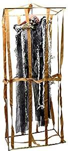 AEC - GU78075  - Squelette habille dans cage son et lumiere 90 cm assorti