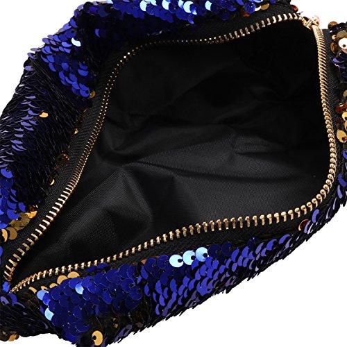 Freebil Damen DIY Clutch Pailletten Abendtasche Meerjungfrau Glänzend Frauen Handtasche Glitzer Handgelenktasche Studenten Pencil Tasche Blau&Gold