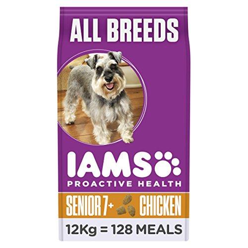Hundefutter übergewichtige Für Hunde (Iams Dog Senior Trockenfutter (für ältere Hunde ab 7 Jahre, Hundefutter mit Huhn für alle Rassen, enthält viel hochwertiges tierisches Protein), 12 kg Beutel)