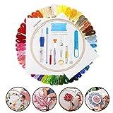 Mengger Punto Croce Kit Principianti con 50 Colori Fili Cerchi di bambù Penna Ricamo Cucito Forbici Strumenti Artigianali Accessori