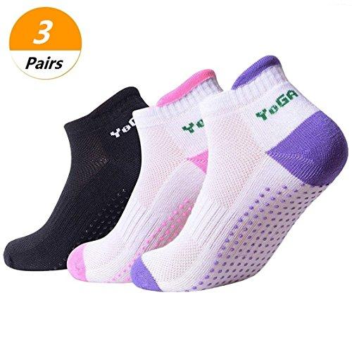 SelfTek Yoga Socken rutschfeste Socken für Gym Fitness Sport mit Bead Massage (schwarz + pink + lila)