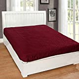 Rajasthan Crafts Microfiber Water Resistant and Dustproof King Mattress Protector (Maroon, 78x72-inch)