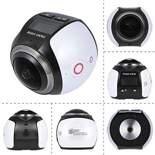 360 Grad Panorama Action Kamera Wasserdicht WIFI 4K 30FPS 16MP Sport Action Kamera Ausgang Mini Panorama Video 3D VR Kamera mit mehreren APP Display Modi SW-V1 (Weiß)
