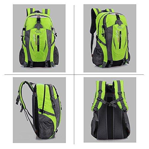 Zaino da escursionismo grande 40l impermeabile leggero borsa per trekking, campeggio, corsa, ciclismo trekking all' aperto sport, Green Verde
