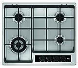 AEG HG654550SY Einbaukochfeld / 60 cm Gaskochfeld mit 4 Kochstellen inkl. Wok-Kochstelle / autarkes Kochfeld mit schnellem Brenner / abnehmbare Topfträgern / silberfarben & schwarz