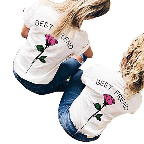Shujin 1 Stücke Damen Mädchen Sommer Süß Partnerlook T-Shirt mit Rose Aufdrucken Best Friends Kurzarmshirt Freund Shirt Oberteile Tops (Freundin Lustige T-shirts)