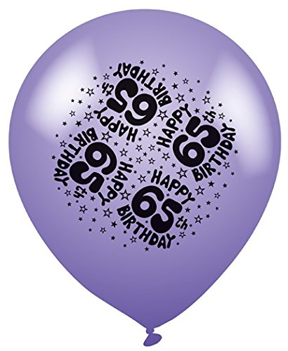 Pack of 8 Multicoloured 65th Birthday Party Balloons - Air or Helium Fill - 65 Today