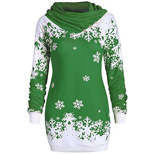 Riou Weihnachtskleid Pulloverkleid Damen Herbst Langarm Schneeflock Lang Gedruck Knielang Hoodie Sweatshirt Blouse Kleider (S, Grün)