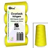 4pezzi bobine Overlock-Filo da cucito, giallo, A. 2743m, Ne 40/2, 100% poliestere, filo, filo da cucire, 2980