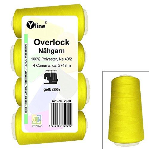 4 Stück Spulen Overlock - Nähgarn, gelb, a. 2743 m, NE 40/2, 100% Polyester, Nähfaden, Nähmaschinen Garn, 2980