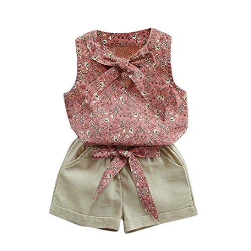 einkind Kinder Baby Mädchen Florale Bowknot Weste T-Shirt + Shorts Outfits Kleiderset Sommerkleidung für Kinder Mädchen(2-7Jahre) (140CM 6-7Jahre, Pink) ()