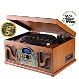 Lauson CL146 Stereo-Anlage mit Plattenspieler Retro, Bluetooth, USB, Vinyl-to-MP3 Digitalisieren, Encoding-Funktion, mit CD-Player Kassettenspieler und Radio, Turntable Naturholz