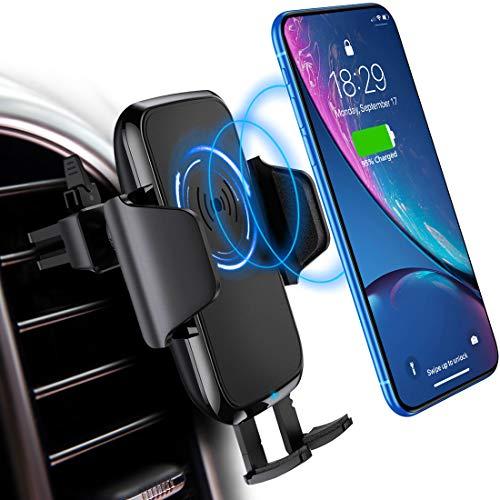 DesertWest Qi Handy Halterung für Auto,Induktions Autohalterung Air Vent Phone Holder Kompatibel für iPhone XS Max/Xs/Xr/X/8/8Plus,Samsung Note 5/8, Galaxy S9/S8//S7/S6, Schwarz