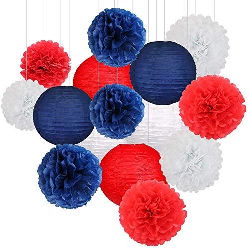 Erosion Nautische Party Decor Pom Poms Seidenpapier Laternen Navy Blue Mixed Rot Weiß Patriotische Dekorationen Captain America Party Supplies (Nautische Geburtstag Party Supplies)