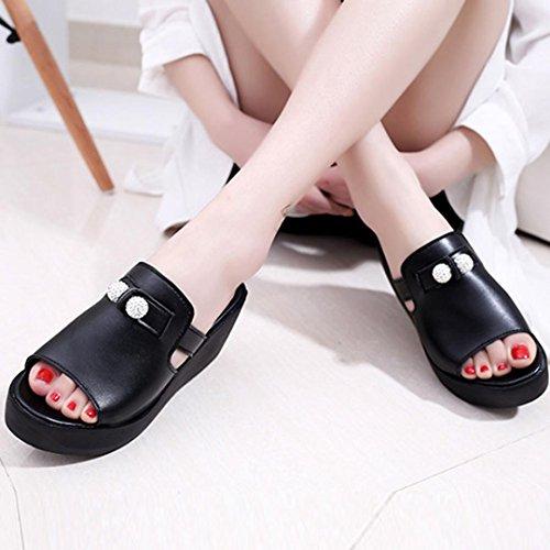 Hunpta Frauen Sommer Schuhe reine Farbe Fisch Mund Freizeit Joker Trifle Sandalen Schwarz