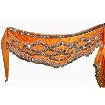 Jelinda traje de baño con danza del vientre diseño de bufanda con cinturón de falda danza del vientre 310 filas Hip 3 con monedas de plata monedas