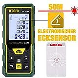 Laser Entfernungsmesser Distanzmessgerät TECCPO, Elektronischer Winkelsensor, m/in/ft/ft+in, Stummschaltung, 30 Datenspeicher, Entfernung, Fläche, Lautstärke, Pythagore-Messung, Winkel, IP54, TDLM21P