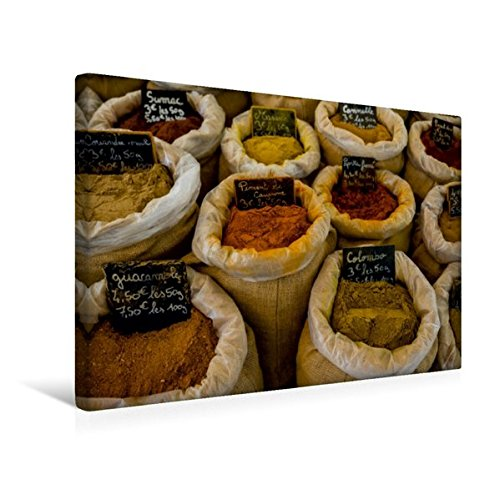 Calvendo Premium Textil-Leinwand 45 cm x 30 cm Quer, Provence - Gewürze auf Dem Markt von Goult | Wandbild, Bild auf Keilrahmen, Fertigbild auf Echter Leinwand, Leinwanddruck Orte Orte