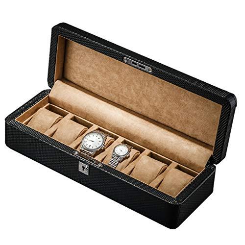 HZY-Watch Box Uhr Vitrine, Schwarz Pu Leder Uhr Geschenk Vitrine Armband Armband Schmuck Aufbewahrungsbox