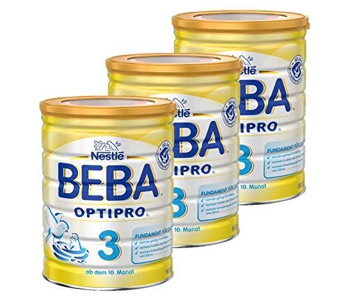 Nestlé BEBA OPTIPRO 3, Folgemilch ab dem 10. Monat, Baby-Nahrung als Pulver, im Anschluss an das Stillen, bei angemessener Beikost, 3er Pack (3 x 800 g)
