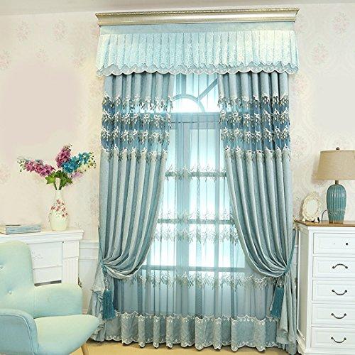 Qpggp tende schermi semi-blackout tende schienale in stile europeo stile soggiorno panno di garza di garza, b-300 x 270 cm (l x h) × 2
