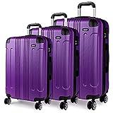 "Kono 3 Piece Luggage Sets Light Weight ABS Hardshell 20"" 24"" 28"" Size"