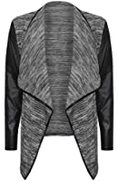 (womens grey leather sleeved waterfall cardigan (mtc) Femmes gris cuir manches cascade cardigan
