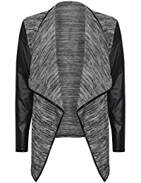 (womens grey leather sleeved (mtc) waterfall cardigan Damen cardigan Wasserfall Leder Sleeve in Grau