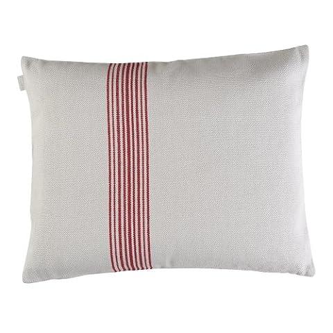Linum Kissenhülle Contrast D90 beige mit feinen roten Streifen 50cm x 60cm, 100% Baumwolle, Kissenbezug, Kissen,