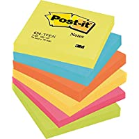 Post-it  654-TFEN 	- 6 Blocchetti Post It, 100 Fogli per blocchetto, 76 mm x 76 mm, Colori Assortiti