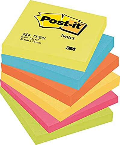 Post-it Notes, 76 x 76 mm - Energetic Colours, 6 Pads (100 Sheets Per Pad)
