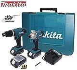 Kit Trapano avvitatore c/percussione + Avvitatore a massa battente c/batteria di riserva 18V Litio Makita - DK18015