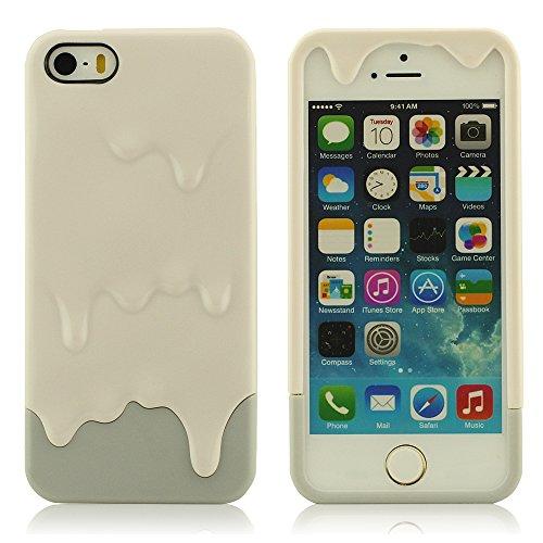 Custodia Copertura Case Cover Per iPhone 5 5S 5G ( Ice Cream ) , [Assorbimento Degli Urti] [Anti-graffia] [Anti-Dirt] Ultra Sottile Gel Skin Cover dura Case grigio