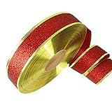 Hemore Weihnachtszubehör 2 m Dekoband für Weihnachtsbaum Felge in Gold Rot 1 Packung