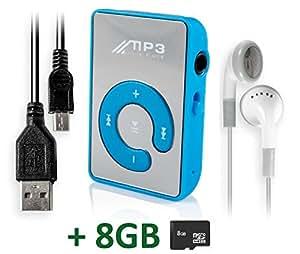 gng bleu miroir mini lecteur mp3 avec clip pour sport et. Black Bedroom Furniture Sets. Home Design Ideas