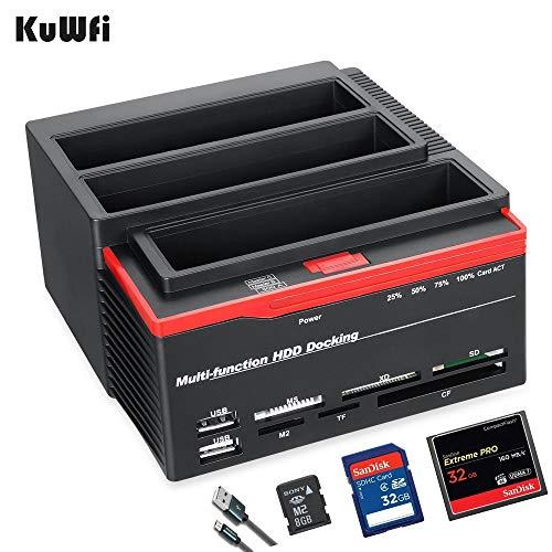 """Externe Festplatten Dockingstation, 2,5 \""""/ 3,5\"""" USB 3.0 bis 2 SATA-Anschlüsse 1 IDE-Anschluss Externe Festplatte Festplatte Docking Station Kartenleser USB3.0 Hub mit OTB / OTC Offline"""