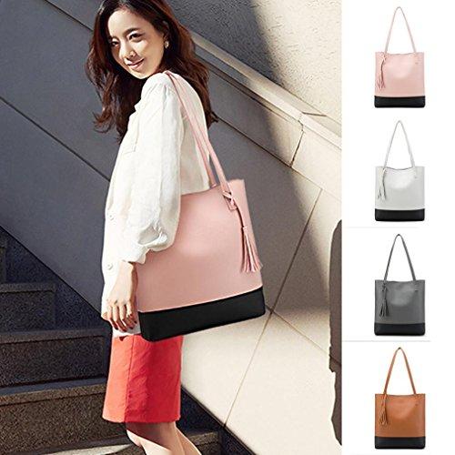 Damen Handtaschen, Huhu833 Mode Frauen Quasten Umhängetasche Schultertasche Große Kapazität Handtasche Eimer Tasche Grau