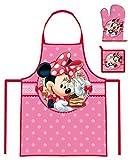 Coffret Cuisinier Disney Minnie Tablier, Gant et Manique Enfant 3 à 8 ans Cuisine Déguisement