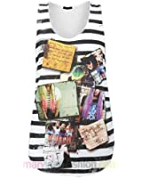 Ladies Stripe Polaroid Collage Dip Dyed Hair Hipster Quote Fashion Vest Top UK 8 10 12 14