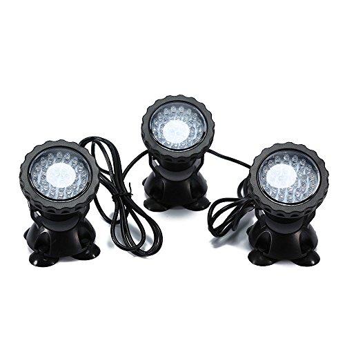 Asvert Spotlight 36 LED Unterwasser Spot Licht IP68 wasserdicht RGB Aquarium Teich Fisch Tank Beleuchtung Farbwechsel Geeignet für Aquarium,Brunnen,Teich,Garten,Badewanne usw. (Set von 3 Lichter)