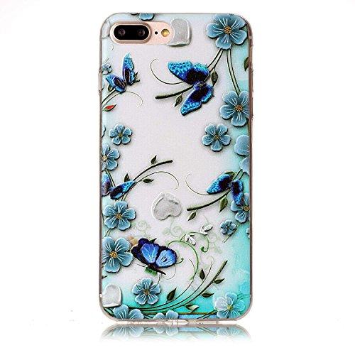 iPhone 7 Plus Coque, Voguecase TPU avec Absorption de Choc, Etui Silicone Souple Transparent, Légère / Ajustement Parfait Coque Shell Housse Cover pour Apple iPhone 7 Plus 5.5 (tortue)+ Gratuit stylet papillon avec fleur bleue 01